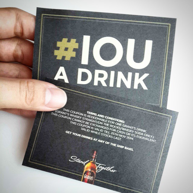 Got our #IOU drink coupons & we're ready to claim our first few drinks of the day! ? #ITSTHESHIP #ITS2014 #GrantsWhisky